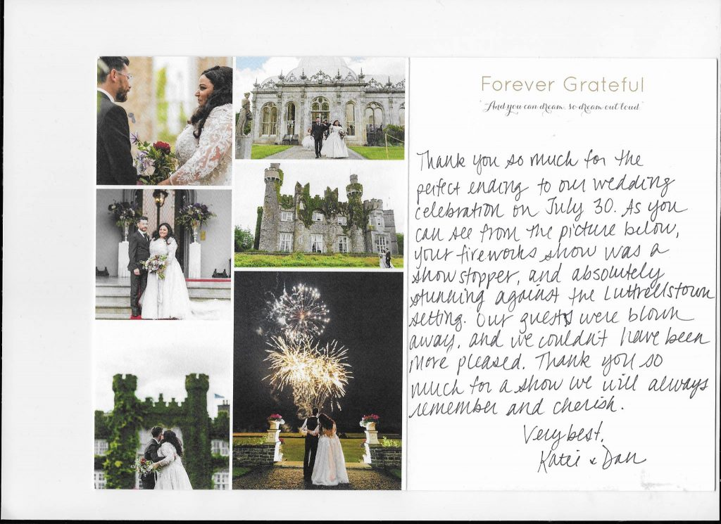 Wedding Fireworks Testimonial